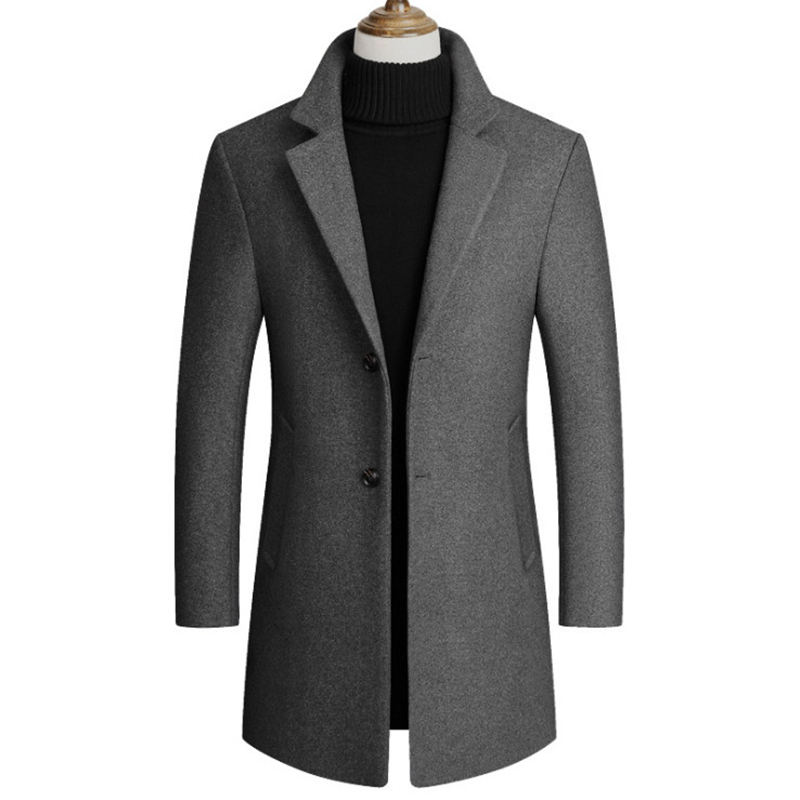 New Boutique Men's Long Woolen Coats Turn-down Collar Casual Wool Overcoat Male Single Breasted Slim Fit Trench Coat