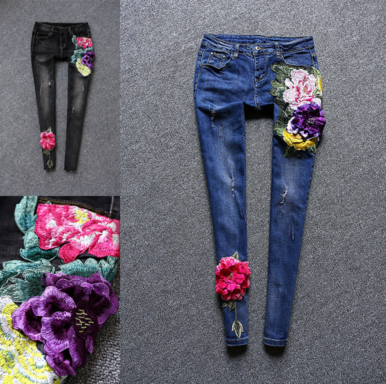 Spring Autumn Mid Waist Women's Jeans Personality Large Flower Embroidery Patch Hole Cowboy Trousers Stretch Skinny Pencil Pants