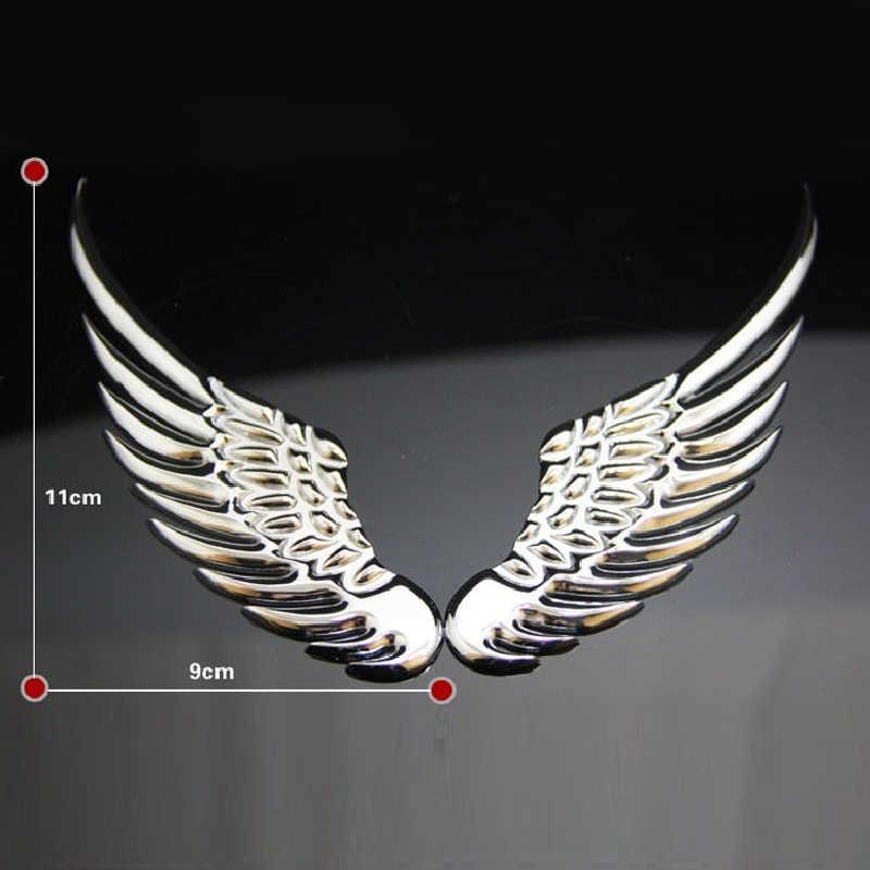 1 זוג 3D מלאך כנפי מדבקות לרכב אופנה מתכת רכב סטיילינג רכב אוטומטי מדבקת אופנוע אביזרי קישוט תג סמל