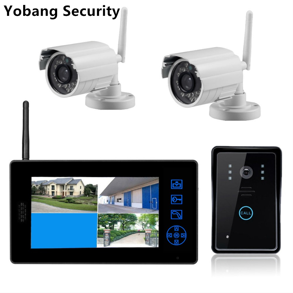 Yobang Security 7 Video intercom system door bell  Home Security Camera 2.4G wireless transmission Realtime Monitoring System yobang security 2 4g wireless transmission surveilliance monitoring system recording video door phone 2 way video intercom