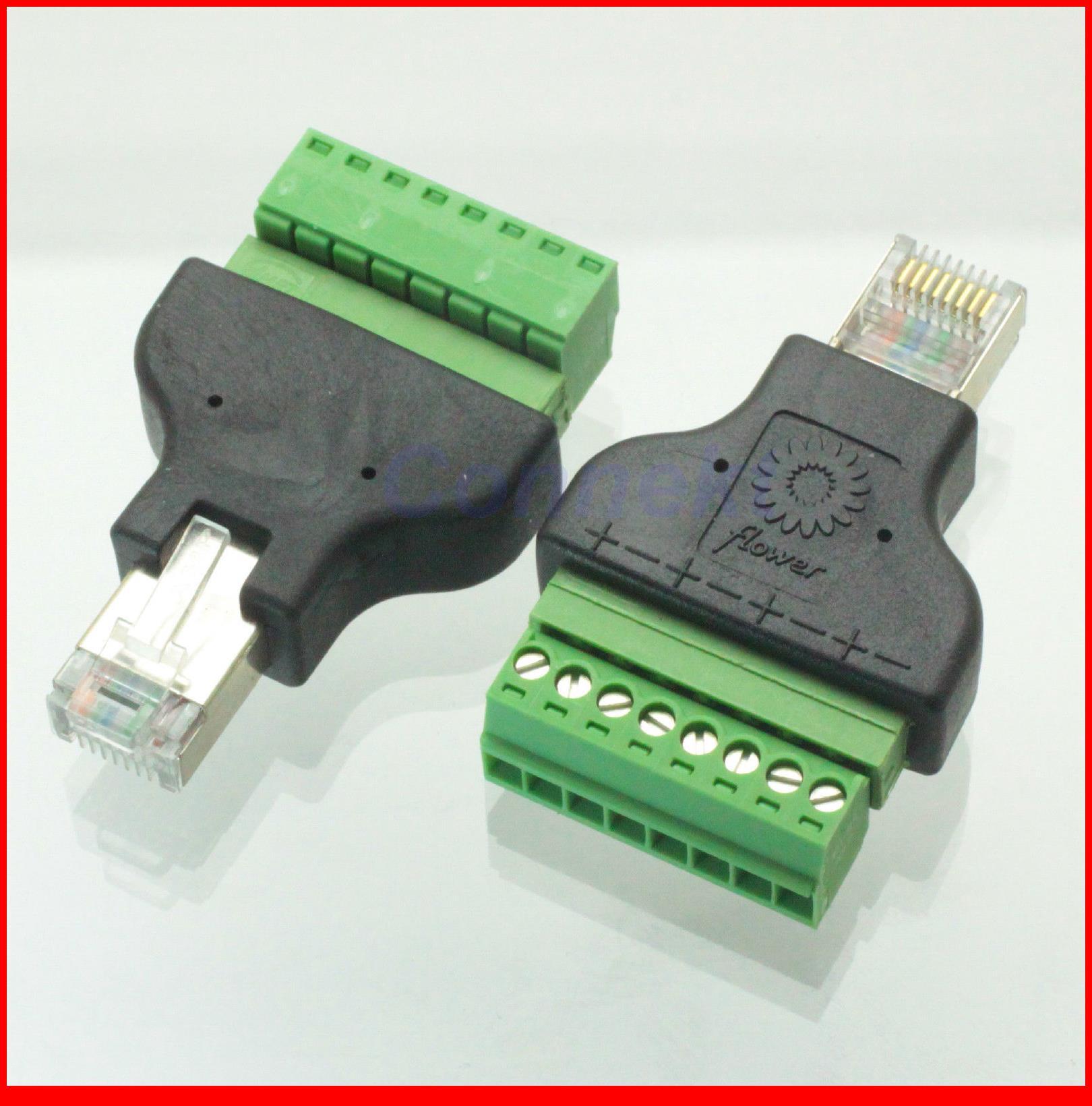 10pcs/lot Ethernet 8P8C RJ45 male plug to AV Terminal Connector Adapter CCTV Radio usb 2 0 to rj45 lan ethernet network adapter