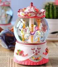 488 zmrui+carousel music box music box crystal ball Girls Birthday Gift creative Valentine's Day gifts for children.(China)