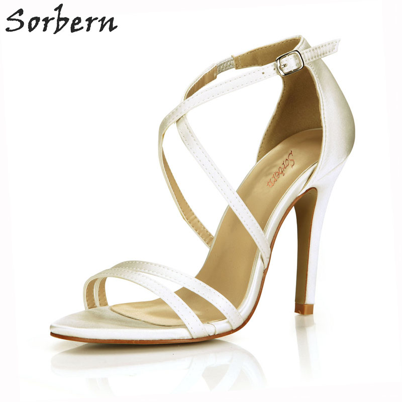 b06a934d9f0 Sorbern Ivory Silk Strap Heels Stilettos Thin Straps Design Bridal Shoes  Custom Color Sandals Cute Wedding Shoes Summer Sandals-in High Heels from  Shoes on ...