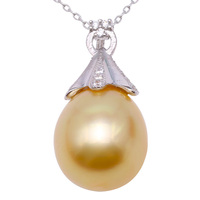 JYX Pearl Silver 925 jewelry Genuine 12.5mm Oval Golden South Sea Cultured Pearl 925 Pendant Necklace in Sterling Silver 18