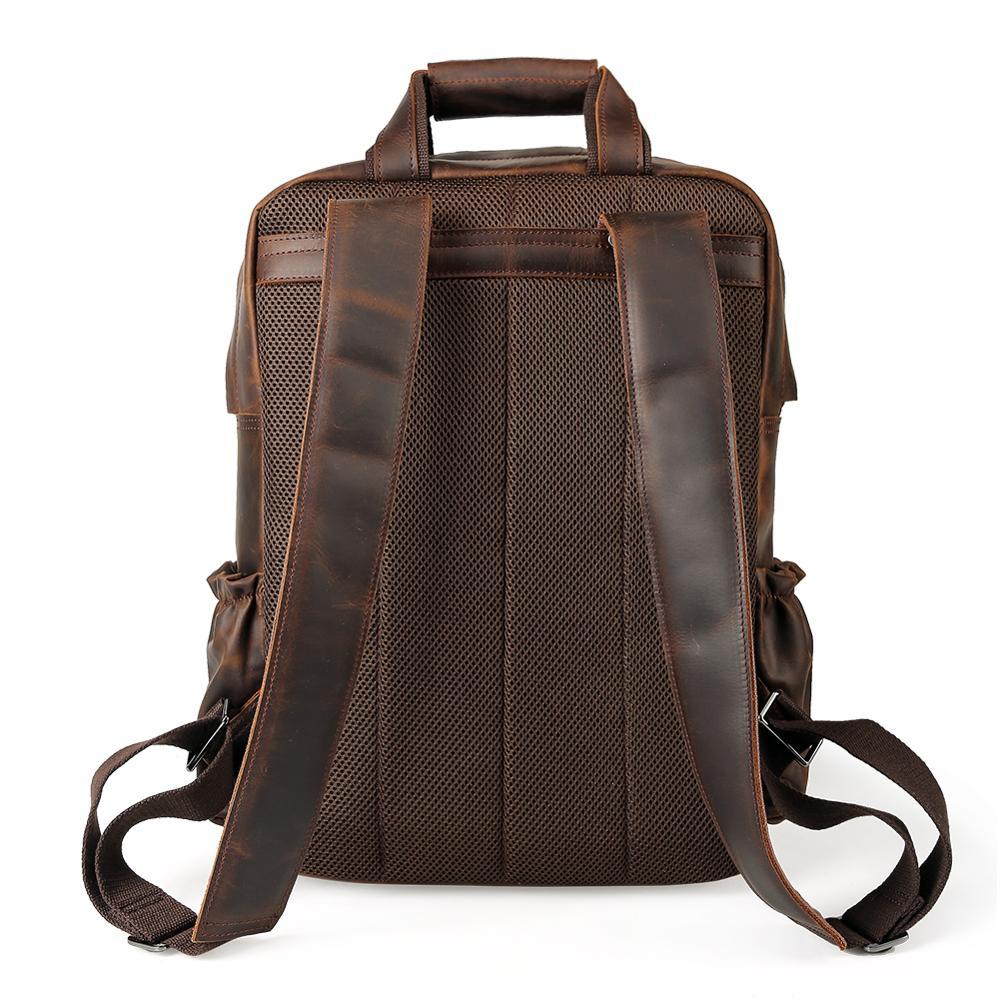 Фирменная винтажная мужская сумка для ноутбука пакет из натуральной коровьей кожи рюкзак для путешествий mochila - 5
