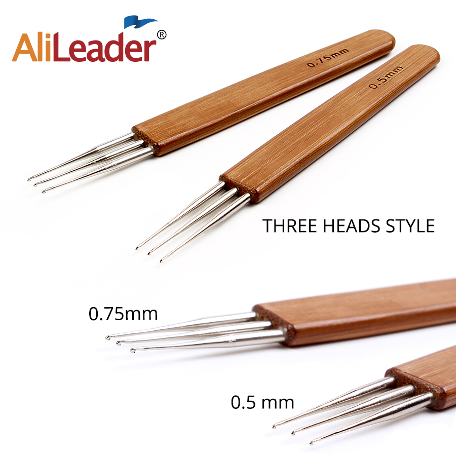 New Bamboo Crochet Needle For Hair Dreadlock Accessories Wig Making Tools  Dreadlocks Hook Needles 1/2/3  Hooks Wig Making Kit