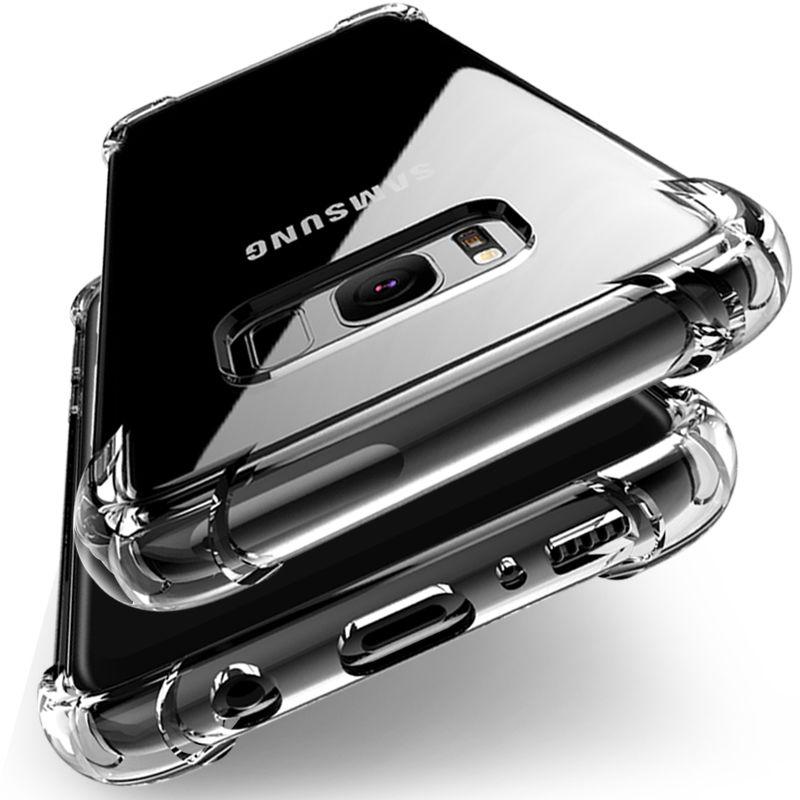 Antichoc Effacer Souple étui armure en silicone pour Samsung Galaxy A6 A8 J4 J6 Plus A7 2018 J5 J7 A5 2017 S7 S8 s9 S10 Plus revêtement arrière
