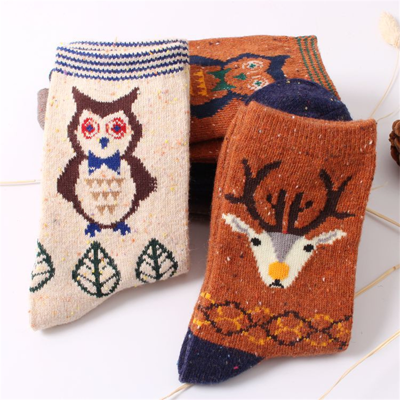 autumn winter retro deer pattern rabbit wool socks for women thicken warm  thermal cute cartoon cat