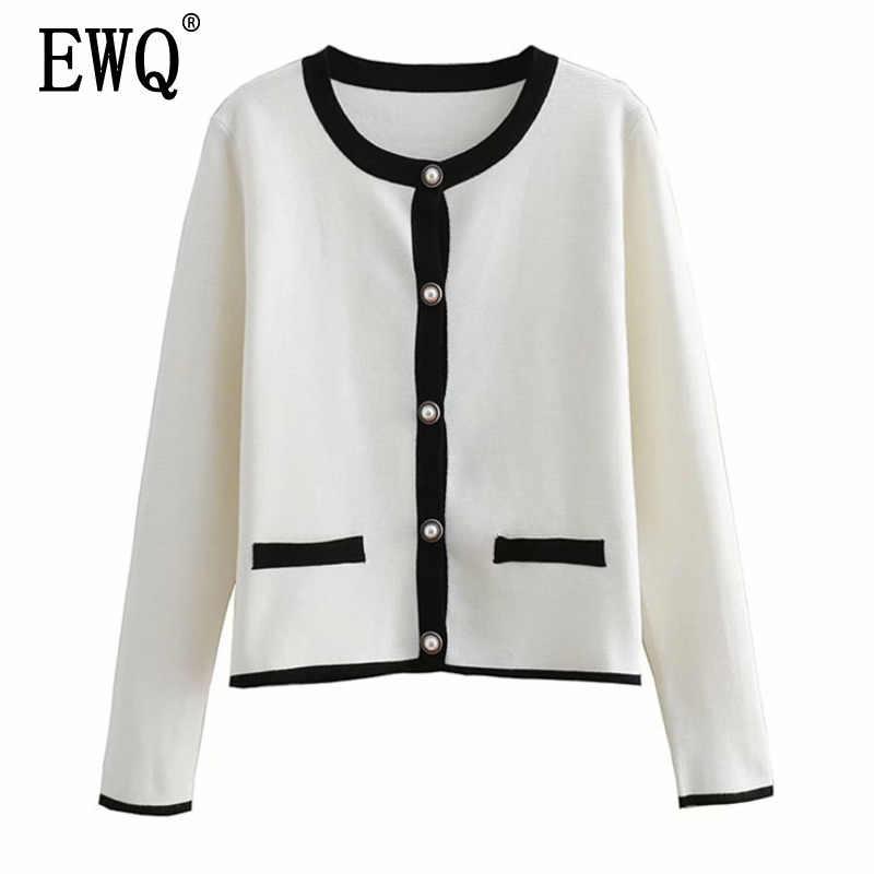 Фото [EWQ] Весна 2019 новый корейский стиль жемчужный кардиган на пуговицах с круглым