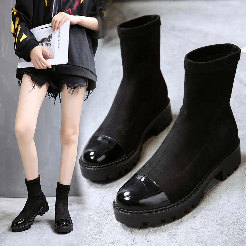 YeddaMavis Black Women Shoes Women Boots New Slim Stretch Socks Ankle Boots for Women Shoes Womens Shoes Woman Zapatos De Mujer