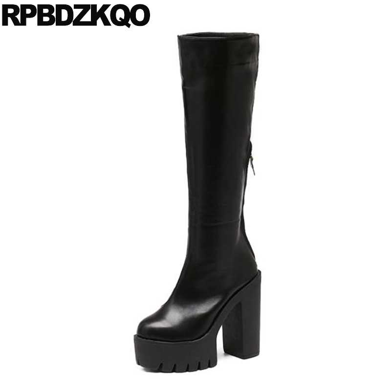 df533e97f54 Fall Wide Calf Women Long Knee High Shoes Platform Punk Rock Boots Gothic  Ladies Chunky Waterproof
