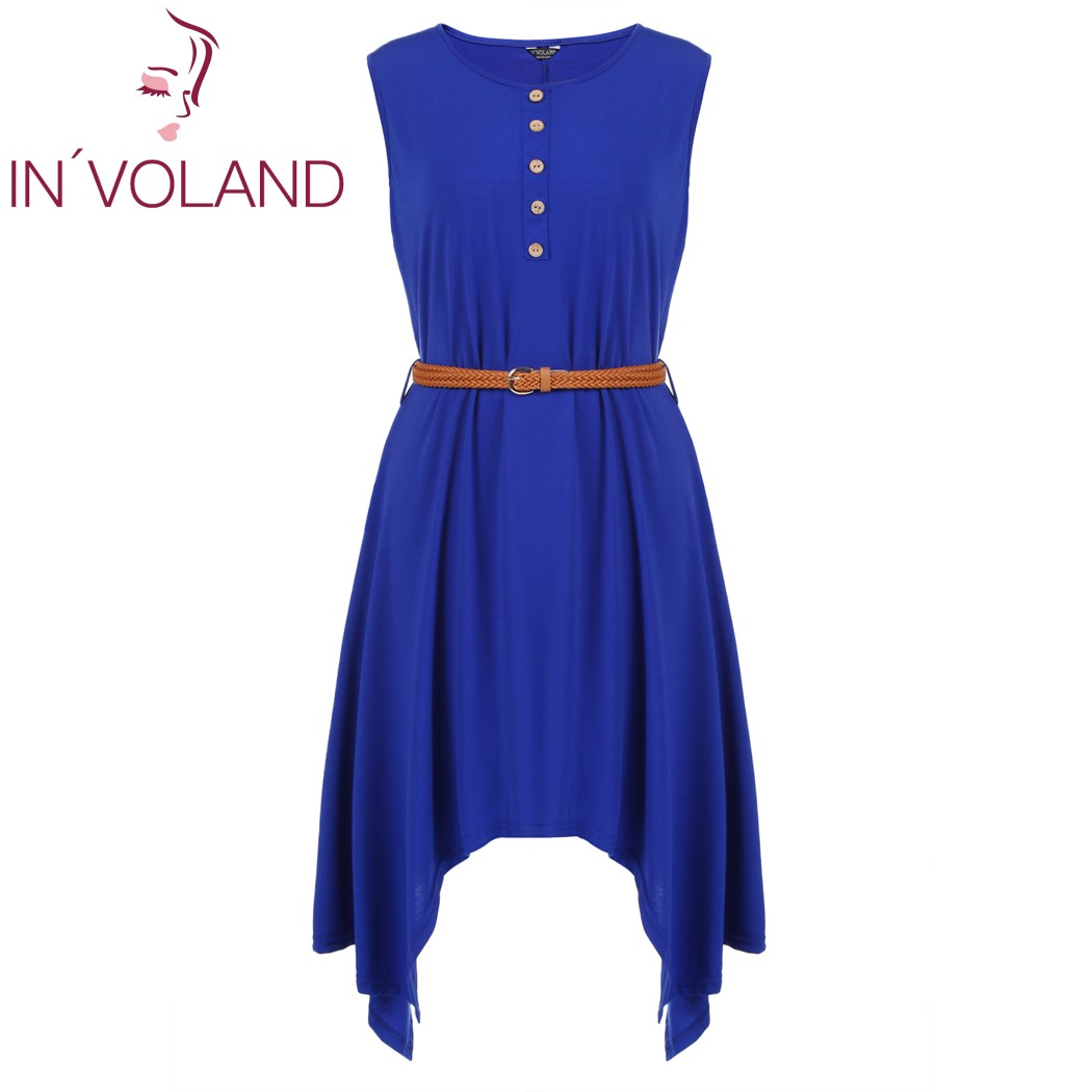 IN'VOLAND Women's Dress Plus Size Sleeveless Button Irregular Casual Loose High Waist Tunic Ladies Dresses with Belt Oversized