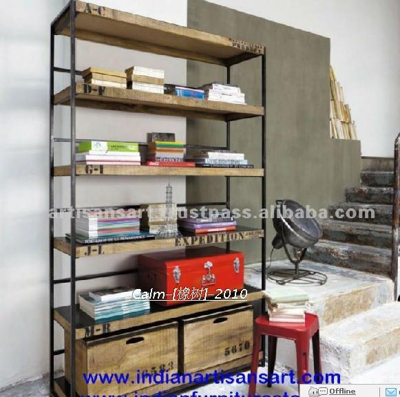 American Country Style Wooden Bookcase Shelves Loft Do The Old Wrought Iron Racks