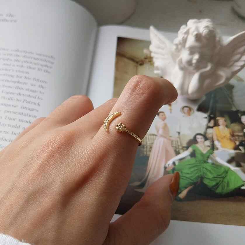 Золото, серебро, полумесяц, звезда, cz, кристалл, регулируемые кольца для женщин, изящные тонкие кольца, ювелирные изделия, милое кольцо, Настоящее серебро 925