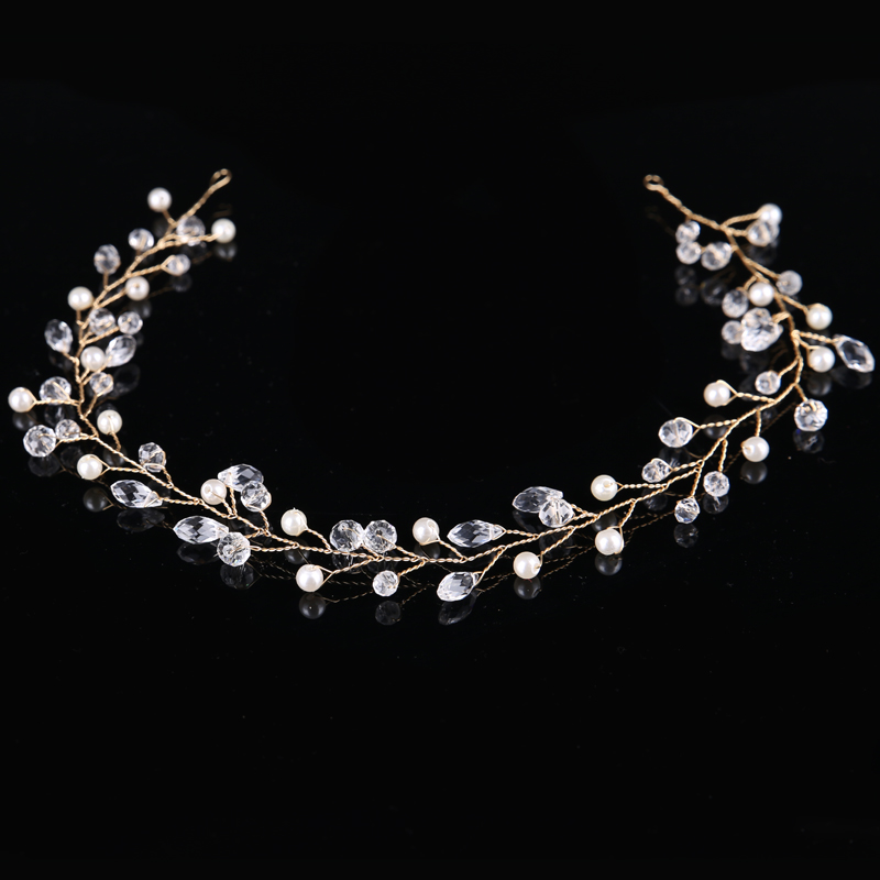 1 Pc Trendy Gold Silber Faux Perle Kristall Tiara Wasser Droop Braut Stirnband Haar Zubehör Hochzeit Haar Schmuck Ornamente QualitäTswaren