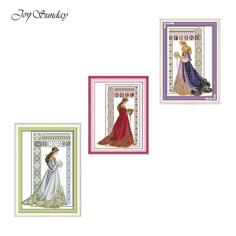 Winter Angel Joy Sunday Cross Stitch Kits Patterns DIY Kit 11CT 14CT Printed Fabric DMC Embroidery Floss