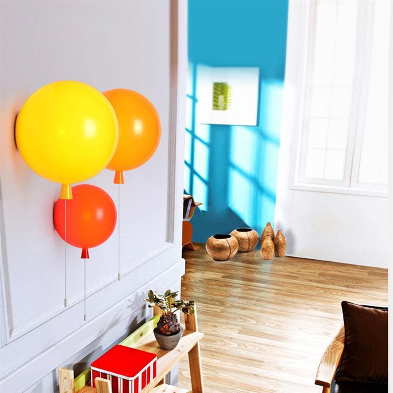 ФОТО Novelty Colorful Balloon Wall Lamps Balloon Wall Lamps Modern Bedside Wall Lights With Pull Switch Acrylic Shade Restaurant Lamp