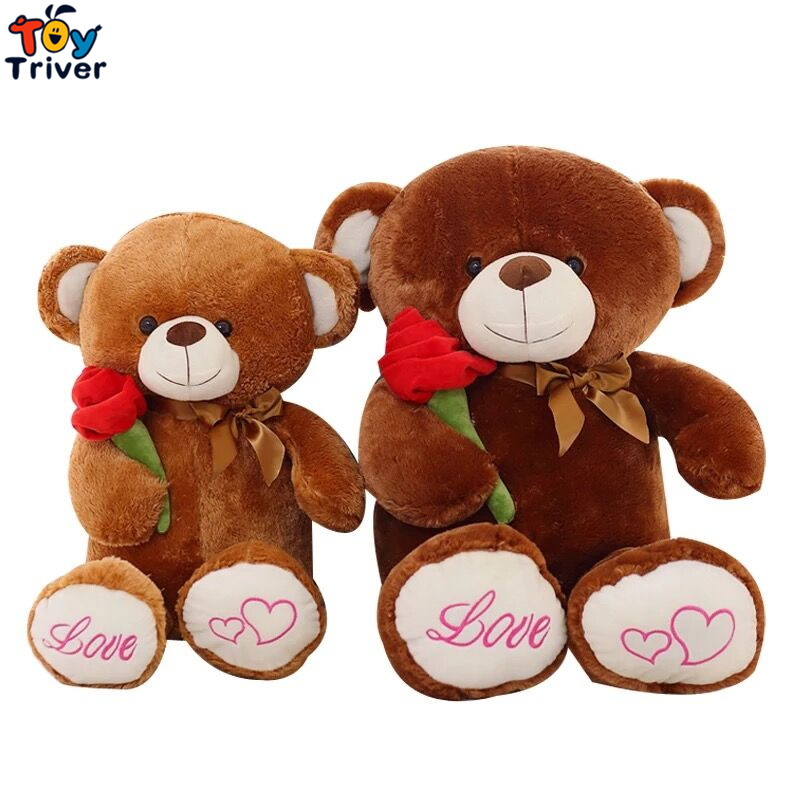 1pc 80cm Cute lovely brown bear with rose plush stuffed toys doll kids girl boy birthday christmas valentine gift Triver Toy 35cm lovely white brown polar bear plush toy lovely stuffed polar bear doll kids gift