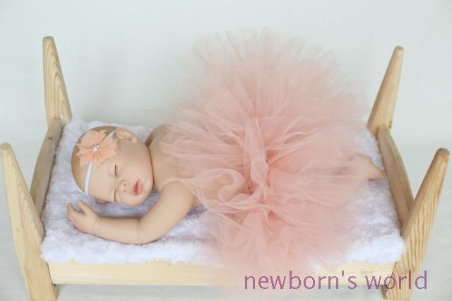 dark pink headband+tutu skirt set,newborn infant Baby photography props Pink Tutu- Girls Tutu- Baby - fits to 0-24 Months1648