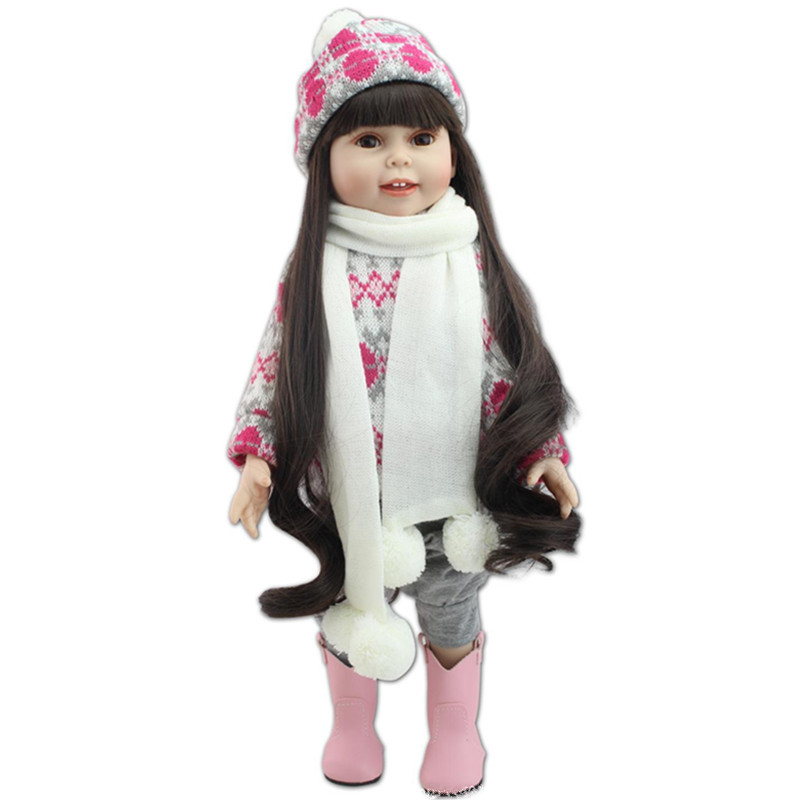 18 Inch 45 CM Refinement Full Vinyl American Princess Girl Doll Silicone Reborn Baby Doll Beauty Toys Girls Creative Gift L682