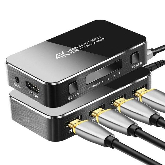 מיני HDMI Switcher עם IR מרחוק 4 ב 1 החוצה, 4 k/60Hz 2.0 גרסה מלאה HD 1080 P HDCP Switcher 3D עבור HDTV PS4 BLU Ray DVD טלוויזיה
