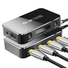 Mini HDMI Switcher mit einen IR Fernbedienung 4 in 1 heraus, 4 k/60Hz 2,0 Version Full HD 1080 P HDCP Switcher 3D für HDTV PS4 BLU Ray DVD TV
