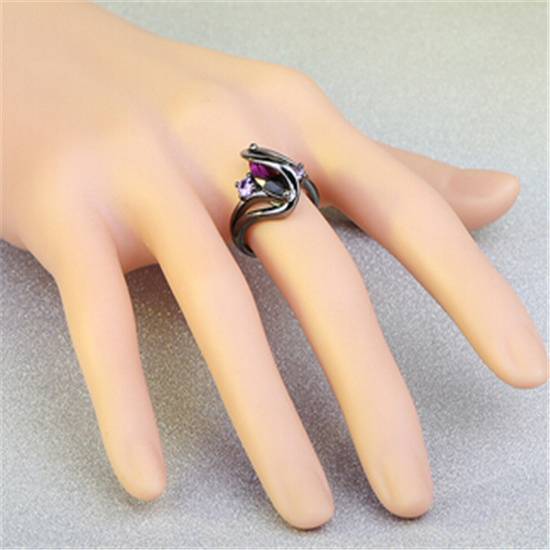 Purple crystal colorful ring 4