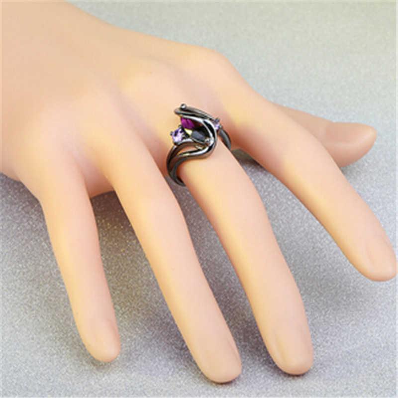 ร้อนแฟชั่นวินเทจ Vintage สีม่วง Zircon CZ Crystal คริสตัลแหวนสำหรับเครื่องประดับหมั้นผู้หญิงเครื่องประดับสีดำแหวนทอง