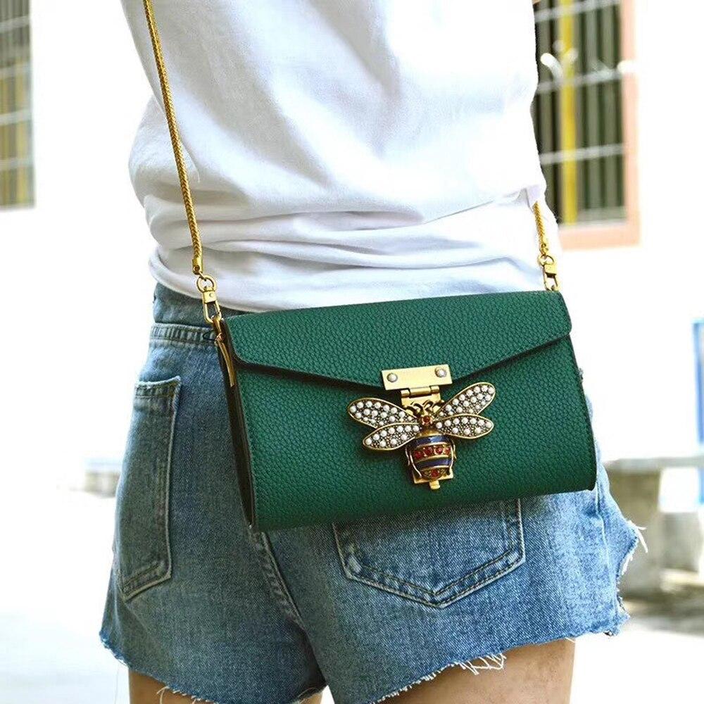 mini saco lychee padrão bolsa de ombro única abelha metal bolsa