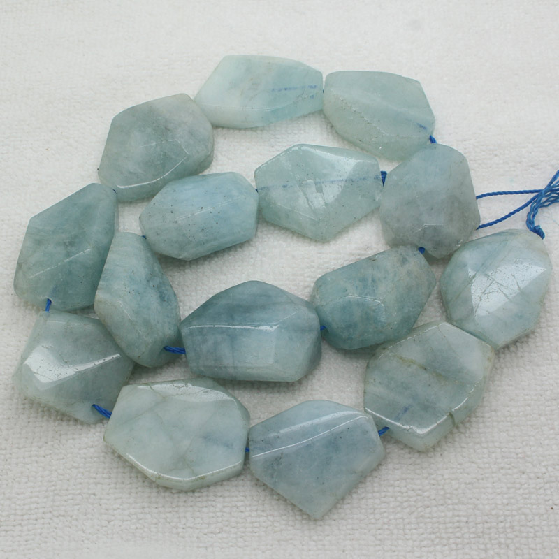 22x26~32mm Natural Faceted Aquamarines Freedom Raw Loose Beads 15