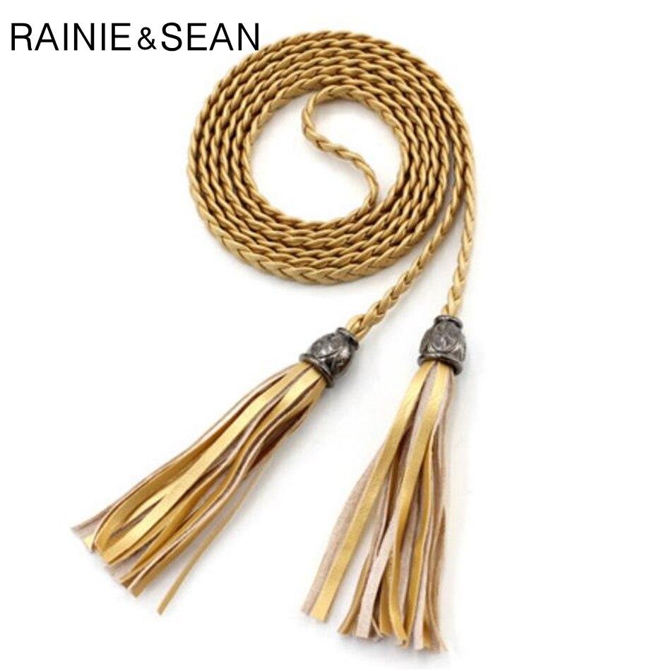 RAINIE SEAN Braided Leather Belts For Women Gold Tassel Waist Belt Ladies Thin Self Tie Bow Female Rope Dress 130cm