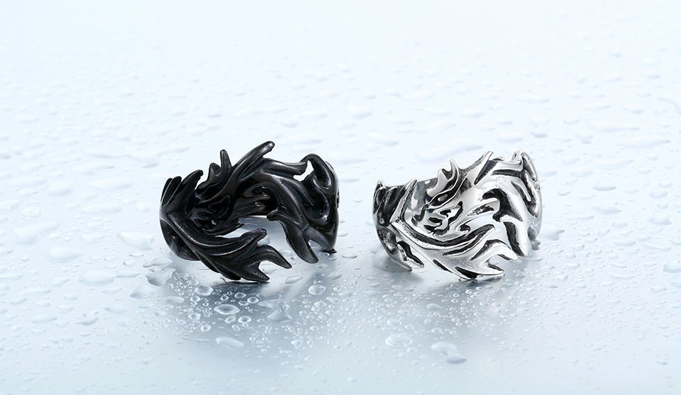 Dragon Black And Silver Rings