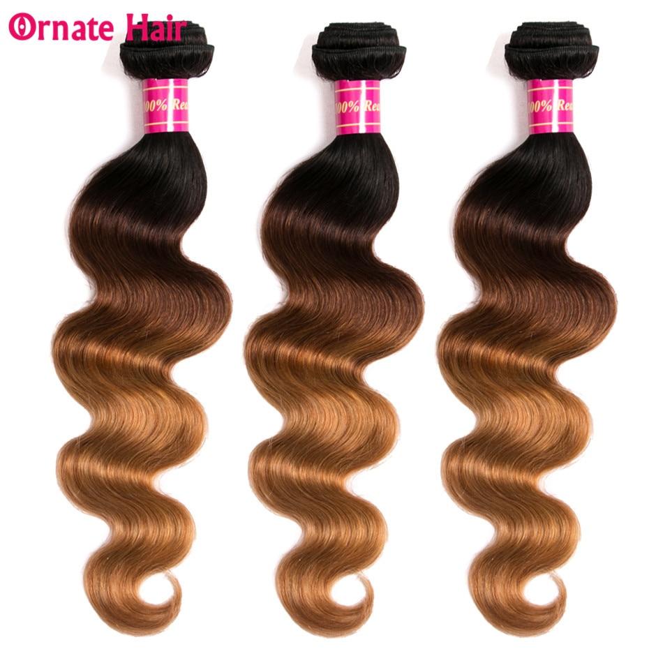 Ornate Brazilian Body Wave Ombre Bundles 3 Tone Ombre Hair Extension 3 Bundle Deals 12 24