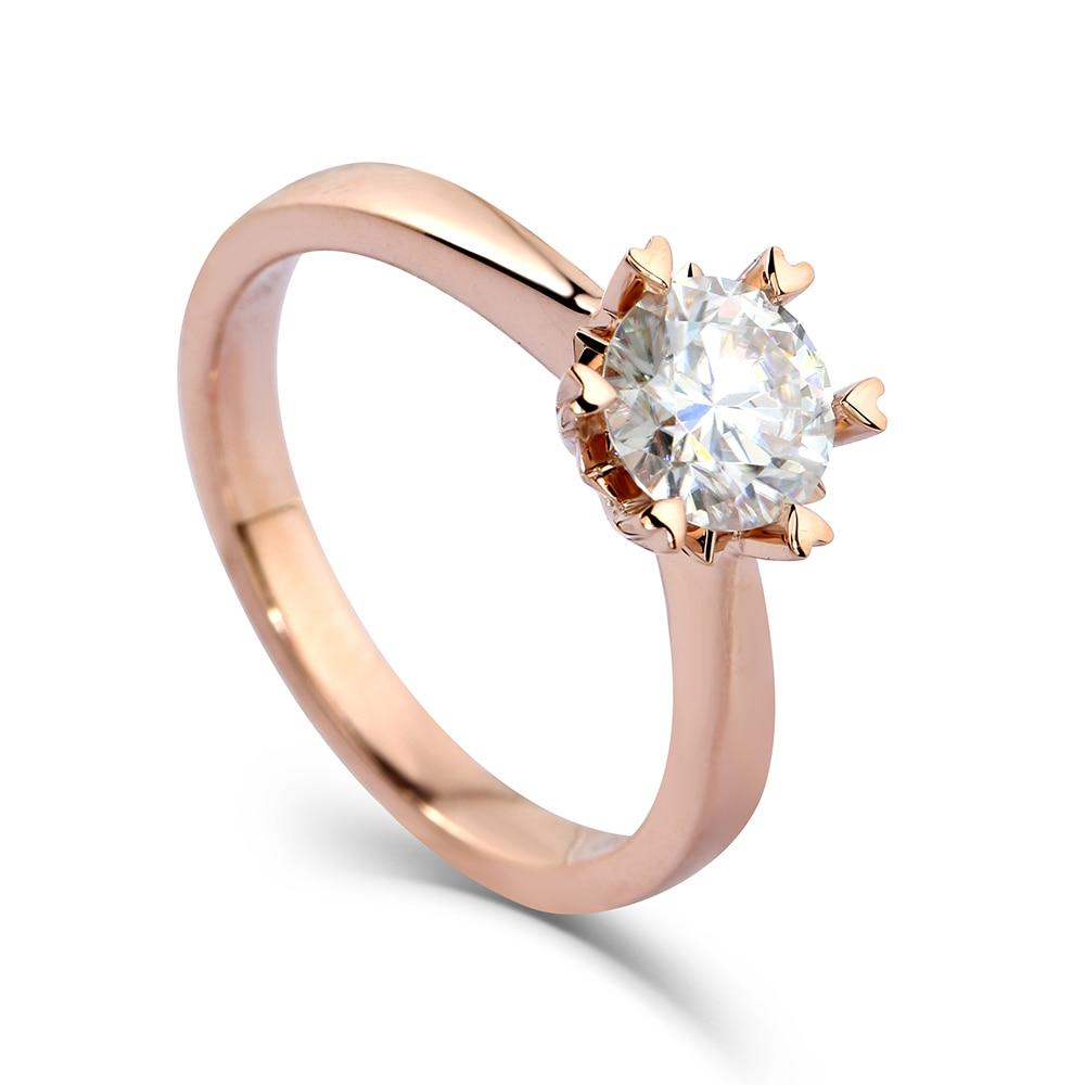 Transgems 14k Rose Gold 1 carat Diameter 6 5mm F Color Moissanite Engagement Ring For Women