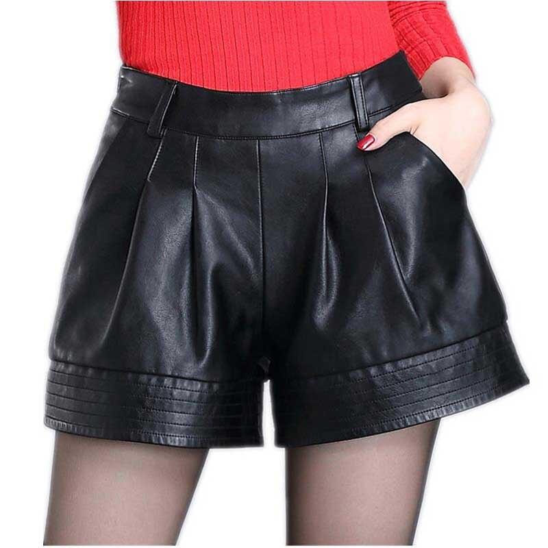 Nouvelle version coréenne de l'automne et de l'hiver grand code PU large cuir jambe shorts décontracté femmes occasionnels en cuir shorts