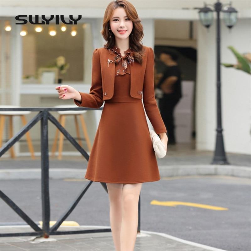 SWYIVY Women's Dress Suit Wool Jacket Coat Winter 2019 Autumn Winter Slim Dress Coat Two Pieces Set Casual Female OL Outwear XXL