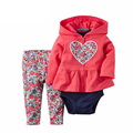 2017 Spring Autumn New Baby Girls Clothing Suit Long Sleeve Printing Velvet Kids Cotton Set Hoodie Sweater baby bebes Set