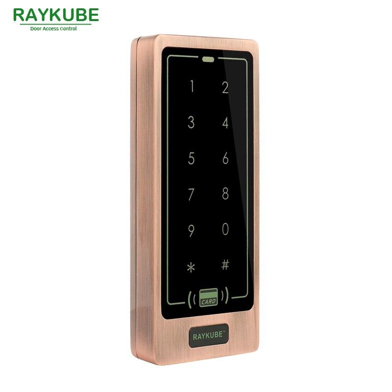 Teclado de Control de acceso RAYKUBE RFID 125 KHz funda de Metal teclado táctil impermeable IPX3 R-T01 rojo bronce