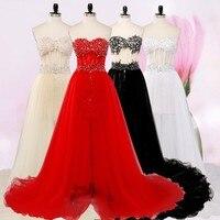 Lange prom jurk 2017 nieuwe hot sweetheart sexy mode twee dragen verwijderbare zwarte korte staart Lange avondjurk custom size