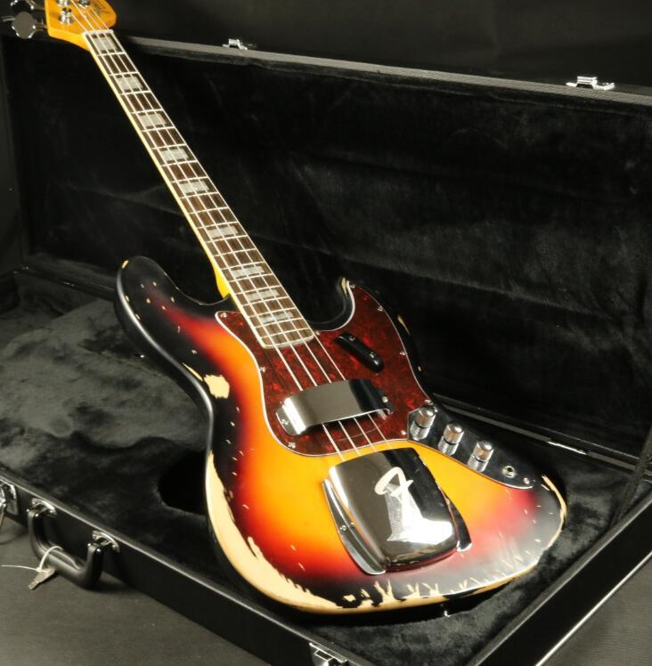 Lourd relique 4 cordes Jazz guitare basse électrique Sunburst couleur palissandre Fingboard livraison gratuite