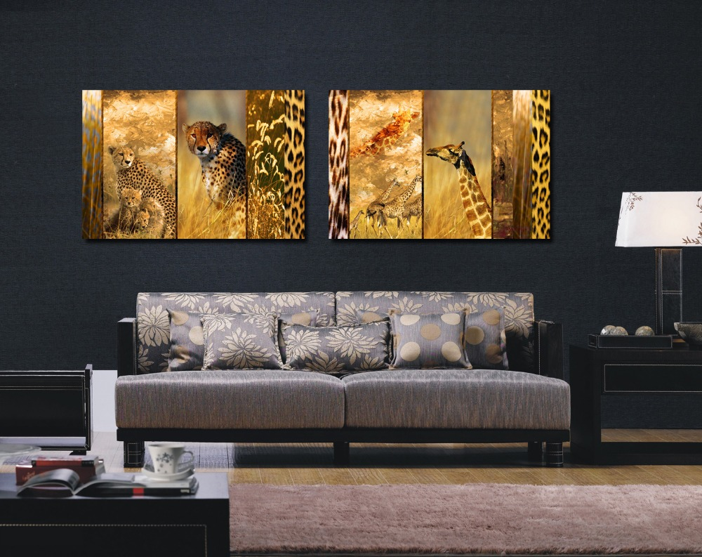 2016 New HD Printed Canvas Painting Animals Wall Art Leopard And Giraffe Pictures Modern Home Decoration Set Of 2 Each 4060cm