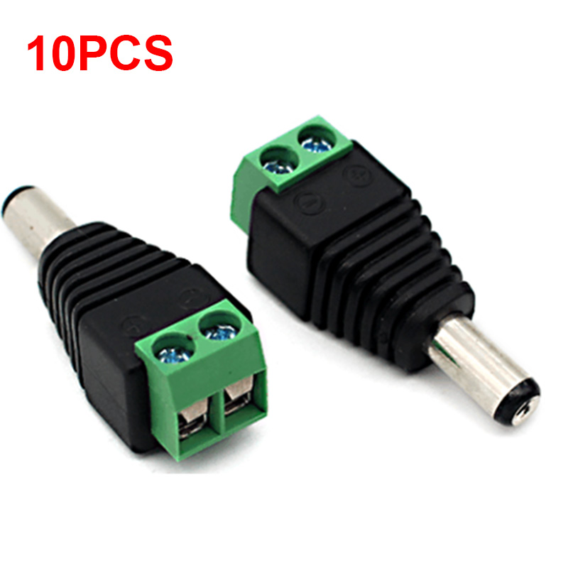 10pcs 2.1mm x 5.5mm BNC Male connector DC Male Adapter Surveillance System Power Supply  ...
