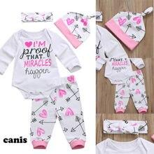 Комплект для новорожденных девочек, комбинезон с длинными рукавами + штаны, шапка с принтом, красивая мягкая одежда высокого качества, новин...