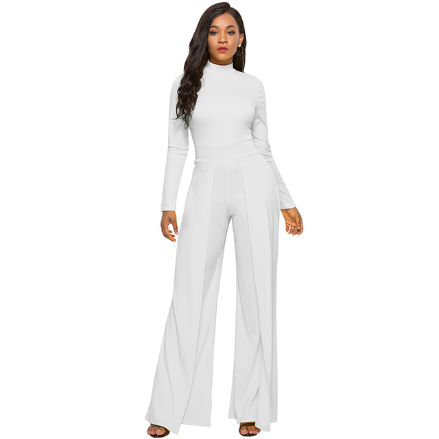 884b8ee20c5 New Sexy Women Solid Color Stretchy Jumpsuit High Neck Zipper Long Sleeve  High Waist Wide Legs