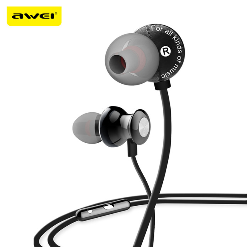 Awei Wired In Ear Headphone In-Ear Earphone For Phone iPhone Samsung Head Headset Earbud Earpiece Kulakl K Sluchatka Auriculares awei headset headphone in ear earphone for your in ear phone bud iphone samsung player smartphone earpiece earbud microphone mic page 7