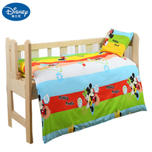 Disney Cotton Kids Bedding Set Minnie Mickey mouse Children Baby cot duvet Crib Sets Cot Set Duvet Cover Pillowcase Flat Sheet promotion 6pcs baby set crib baby bedding sets for cot 100