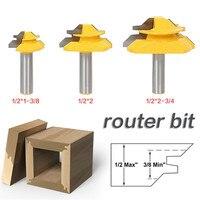 3 PCS Set 1 2 Shank Woodworking 45 Degrees Router Bit Tenon Cutter 1 3 8