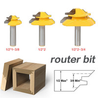3 PCS Set 1 2 Shank Woodworking 45 Degrees Router Bit Tenon Cutter 1 3 8