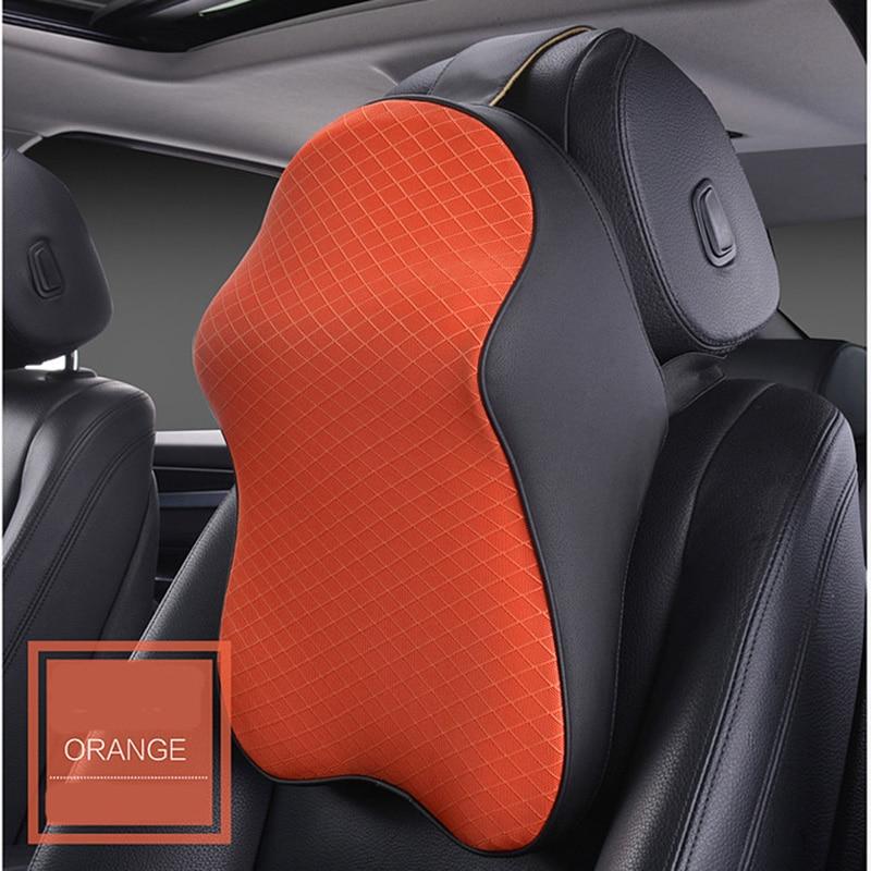 Repuesto 3D Reposacabezas Del Coche Almohada De Cuero Hielo Seda Automóvil Descanso de Cuello Cintura Soporta Cojín Para Auto Asiento Accesorios