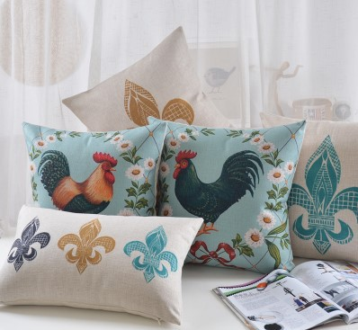 Wholesale European high-grade Cushions <font><b>Home</b></font> <font><b>Decor</b></font> American retro Chair Cushion <font><b>rooster</b></font> pattern Cushion big discount